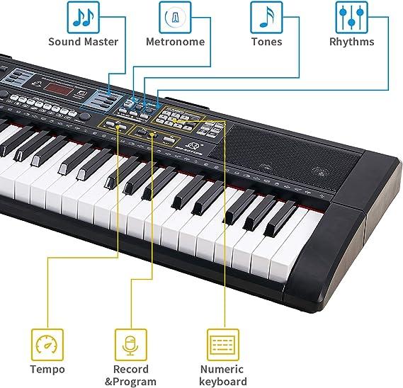 Souidmy Teclado piano eléctrico 61 teclas con Bluetooth, altavoces incorporados, fuente de alimentación dual, teclado portátil para principiantes ...