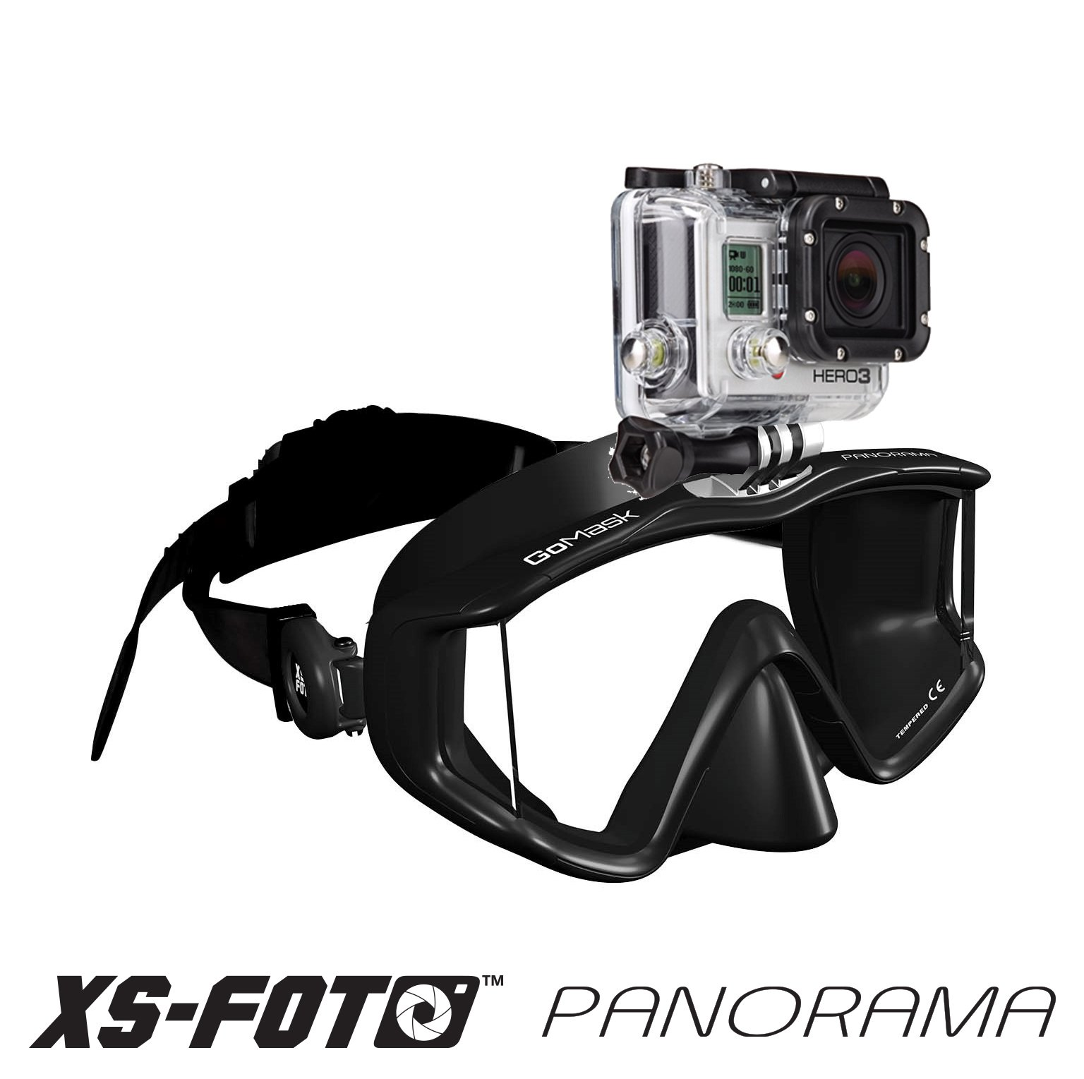 XS Foto Panorama - 3 Window - Extra Qwik Comfort Strap - Built-in Stainless Steel Camera Mount - Diving Mask for GoPro, GoMask (Black Silicone) (MA580BS) by XS Foto