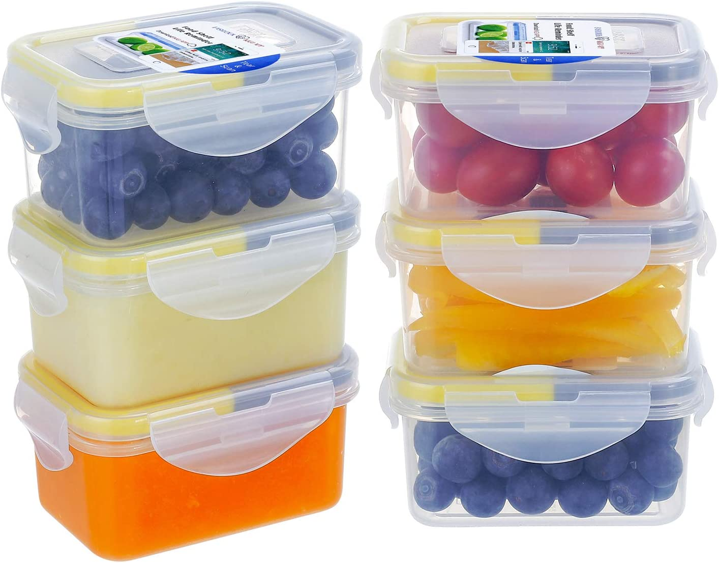 [6 Pack]6.1oz Small Plastic Food Storage Containers,EASYLOCK Leakproof Food Containers with Lids,Airtight Mini Meal Prep,BPA Free - Microwave, Freezer and Dishwasher Safe