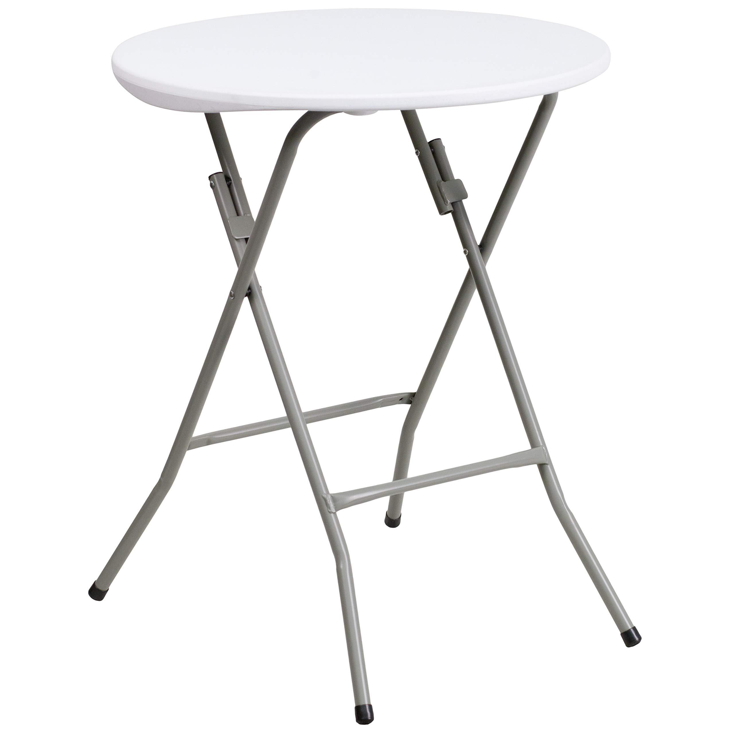 Flash Furniture 24'' Round Granite White Plastic Folding Table by Flash Furniture
