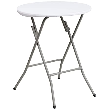 Flash Furniture 24 Round Granite White Plastic Folding Table DAD-YCZ-80R-1-SM-GW-GG