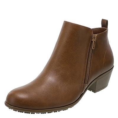 safeTstep Cognac Women's Slip-Resistant Brenna Short Boots 5 Wide | Ankle & Bootie