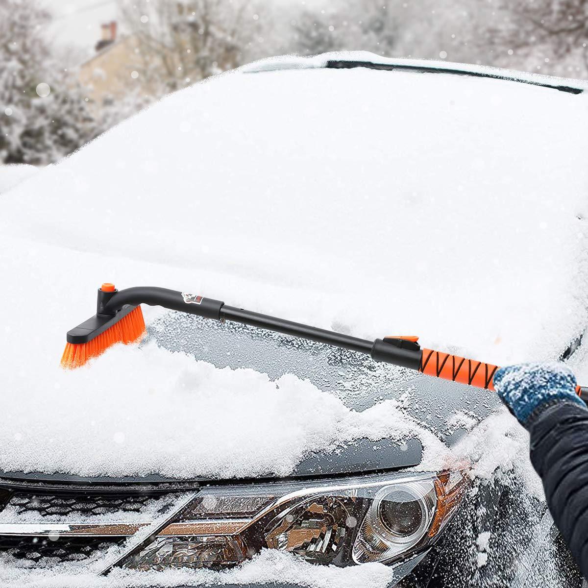 Verl/ängert MATCC Eiskratzer Auto mit Besen Erweiterbar Schneebesen Auto Eisschaber 2 in 1 Schneeb/ürste mit 270/° B/ürstenkopf Gro/ß und Dick Schneefeger f/ür Car Auto SUV