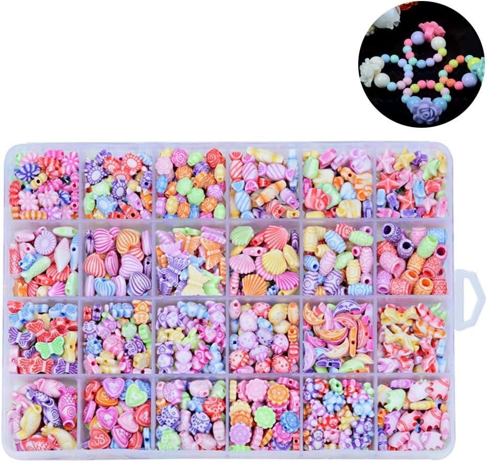 rosenice cuentas acrílico Surtido Colores Para Juegos y juguetes de manualidades pulseras collares y joyas DIY Fai Da Te y regalo de niños con scatla a 24compartimentos 500pcs