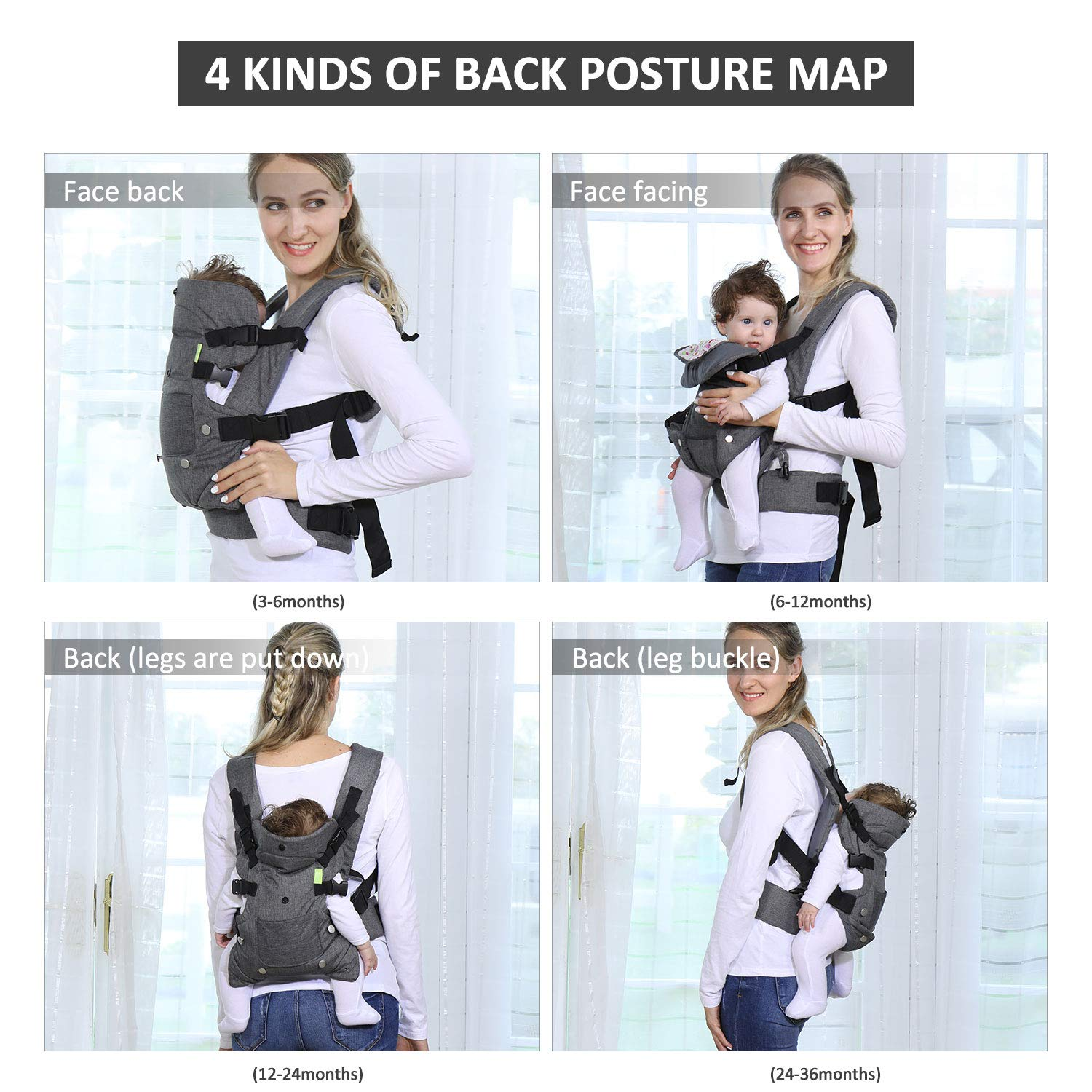 4-in-1 Ergonomic Convertible Carrier with Adjustable Straps and Breathable Mesh Baby Soft Carrier