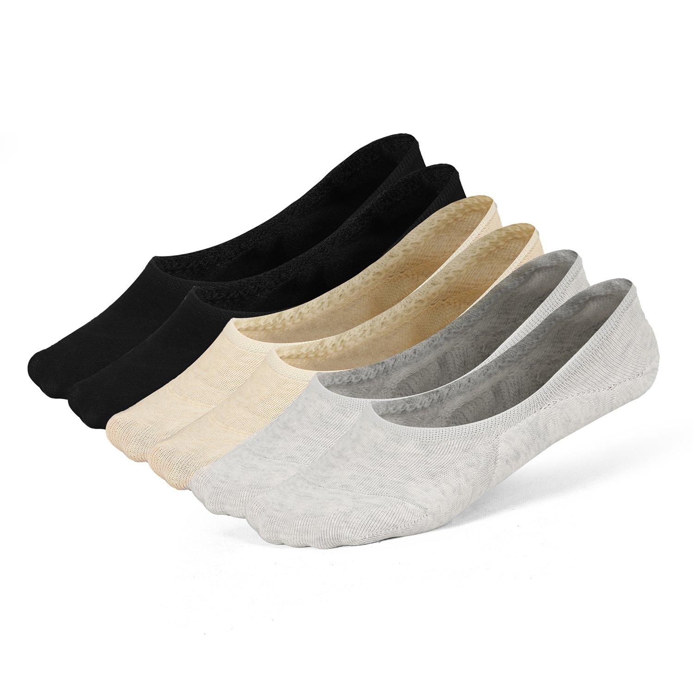 Women's No Show Socks Invisible Hidden Liner Non Slip Low Cut Colorful Cotton Socks (6 Pairs / 2black +2gray + 2light beige)