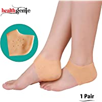 Healthgenie Silicone Gel Heel Pad Socks with Aloevera Fragrance for Pain Relief, Dry, Hard or Cracked Heels - 1 Pair (Free Size)