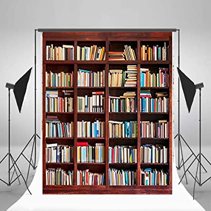 3x5ft Lfeey Vinyl Photography Background Backdrops Bookshelf Bookcase Various Book Collection School Students Abstract Portrait Personal