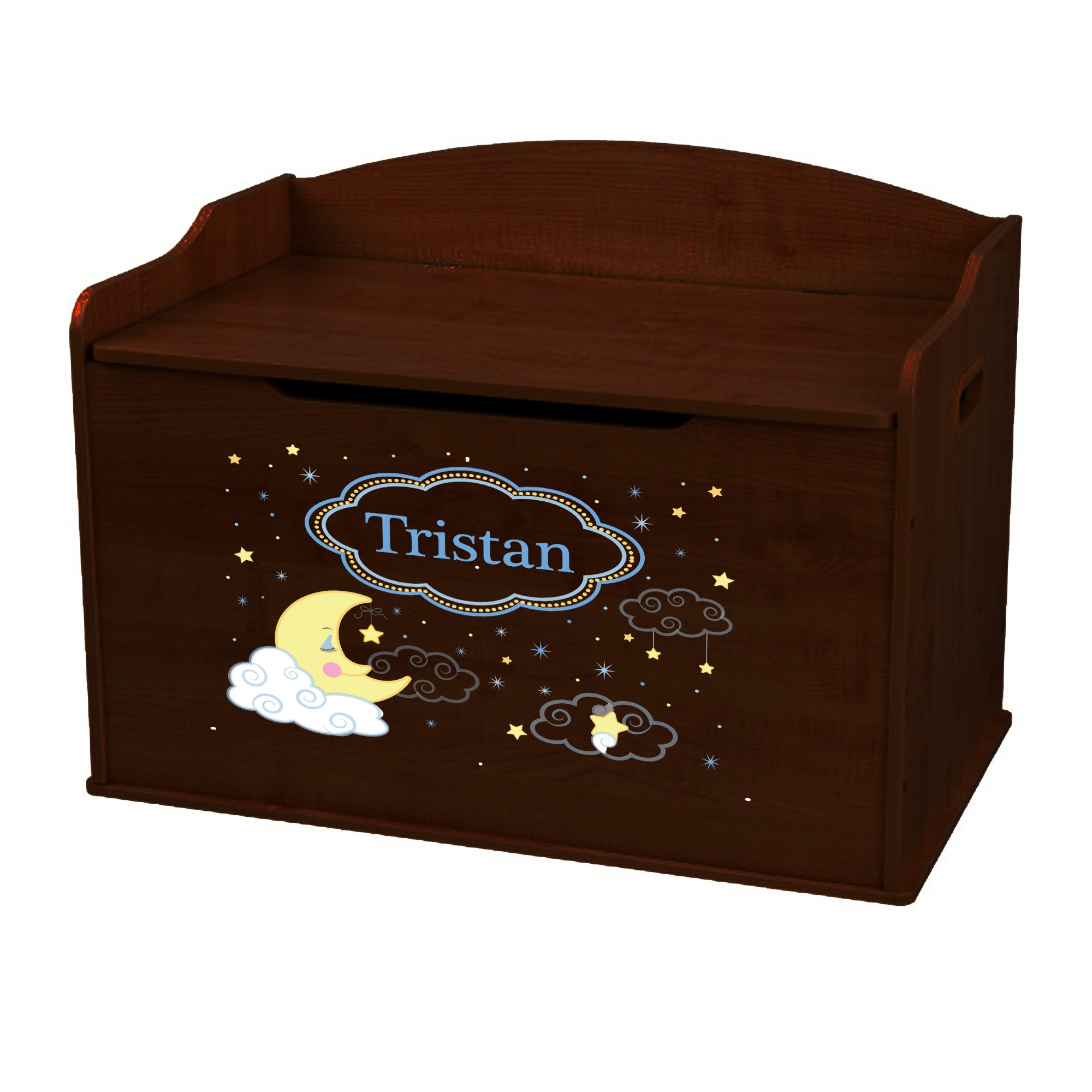 Personalized Moon and Stars Espresso Toy Box Bench