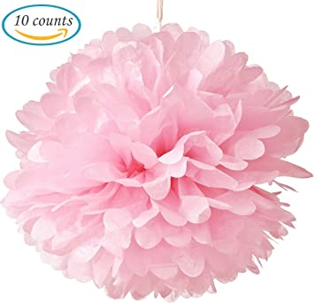 Amazon hmxpls 10pcs tissue hanging paper pom poms flower ball hmxpls 10pcs tissue hanging paper pom poms flower ball wedding party outdoor decoration premium mightylinksfo