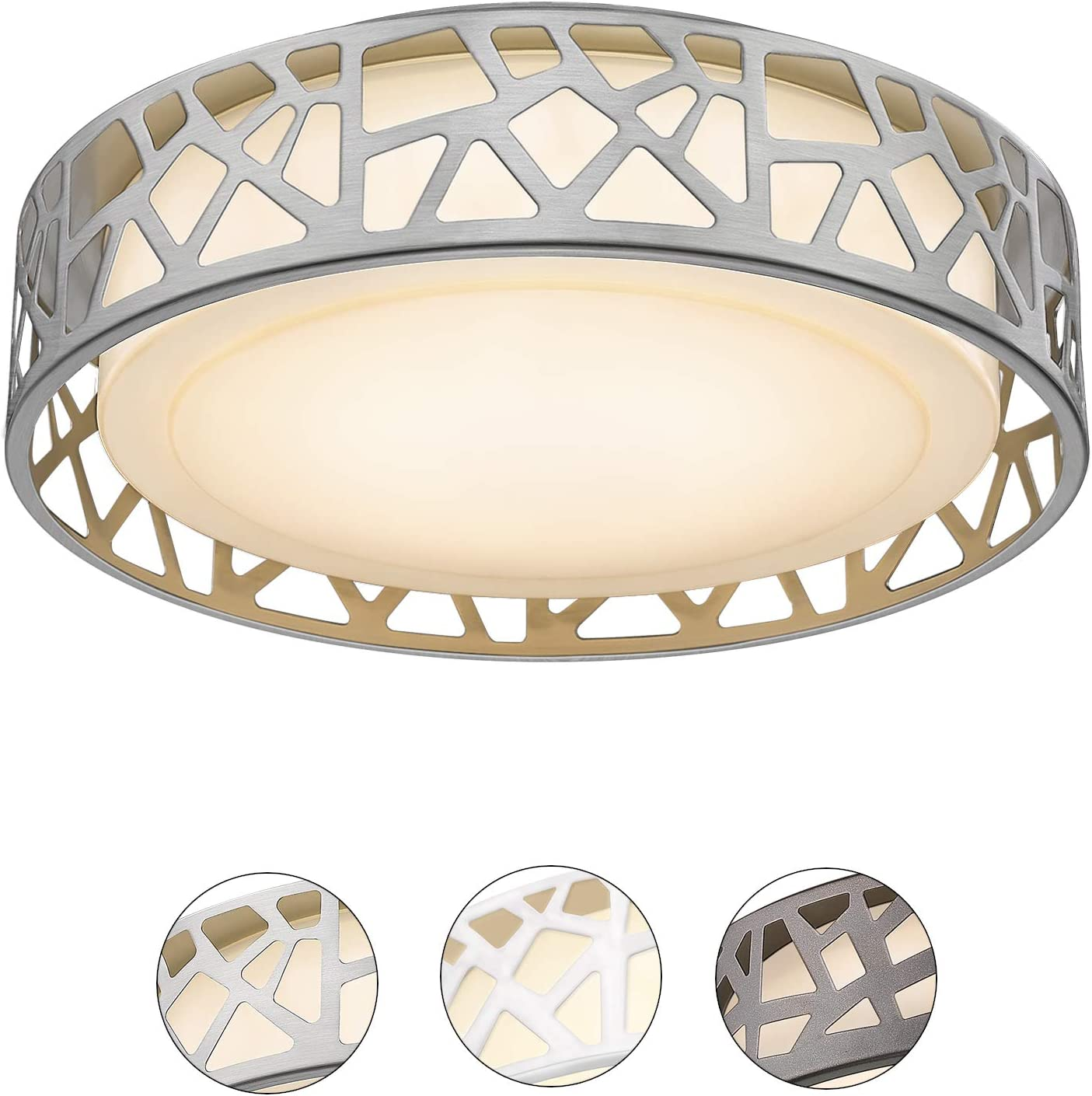 Ceiling Light Fixtures, VICNIE 14 inch 20W 1400 Lumens LED Flush Mount, Dimmable 3000K Warm White, Brush Nickel Finished, ETL Listed for Kitchen, Hallway, Bedroom, Stairways