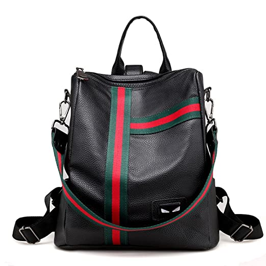 e2e842eb07 New Stripe Girl Casual Little Leather Backpack Shoulder Satchels School Bag  Women Daypack Zipper Basic Multipurpose