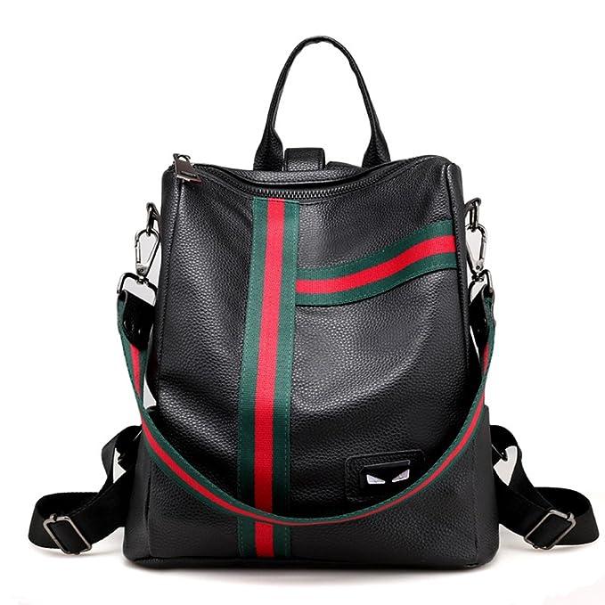 New Stripe Girl Casual Little Leather Backpack Shoulder Satchels School Bag  Women Daypack Zipper Basic Multipurpose 493317bf8b