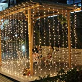 600 Led Curtain Fairy Lights Wedding Indoor Outdoor Christmas Garden Party Memory Function (6M*3M(600 LED), Warm White)