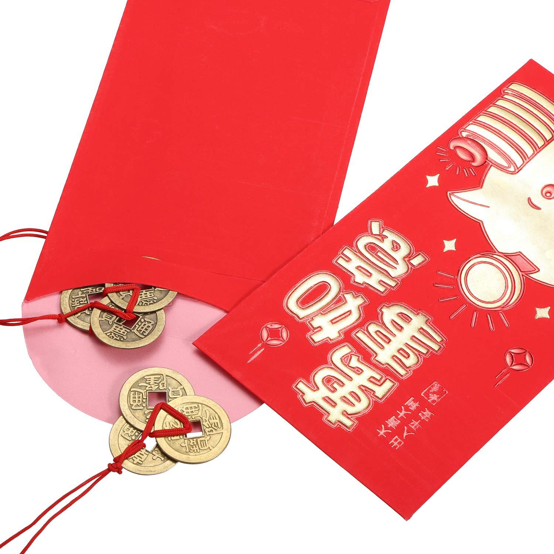 Boao 10 Set Monete di Fortuna Cinesi Monete di Feng Shui I-Ching Monete Tradizionali con Rosso Stringa per Ricchezza e Successo 5 Stili