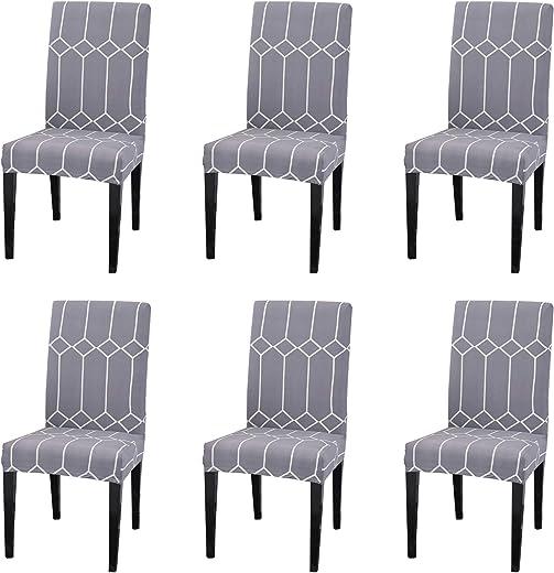 أغطية للكراسي من Argstar مكونة من 6 قطع ، غطاء قابل للتمدد للكرسي بدون ذراع وسادة مقعد غرفة الطعام ، غطاء واقي للكراسي ، قابل للإزالة والغسل ، رمادي أبيض
