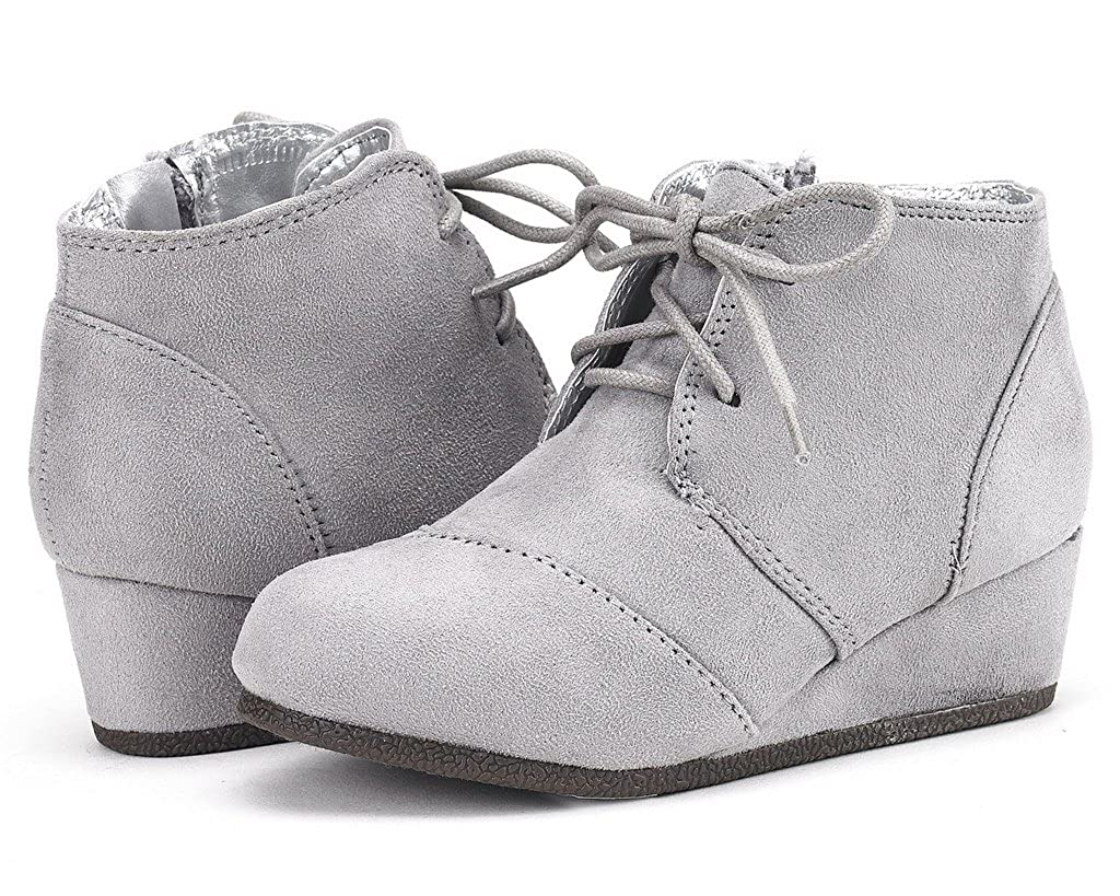DREAM PAIRS Toddler//Little Kid//Big Kid Girls Low Wedge Heel Booties Shoes
