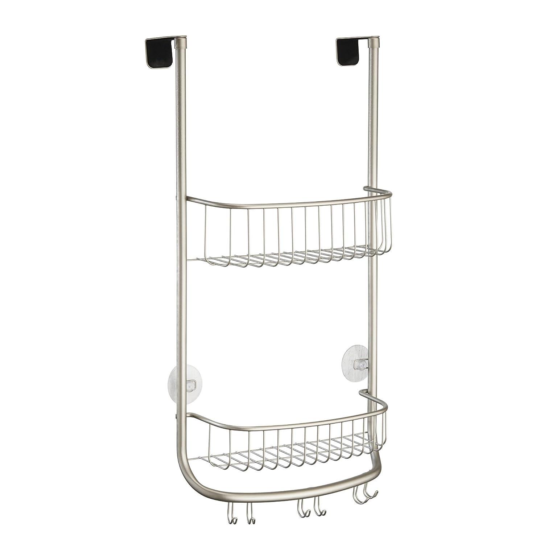 InterDesign Forma Over Door Shower Caddy – Bathroom Storage Shelves for Shampoo, Conditioner and Soap, Satin 46165EU