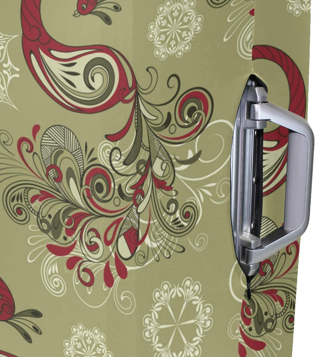GIOVANIOR Winter Peacocks And Snowflakes Luggage Cover Suitcase Protector Carry On Covers