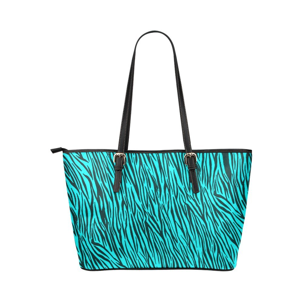 InterestPrint Turquoise Zebra Stripes Animal Print Fur Leather Tote Bag Large