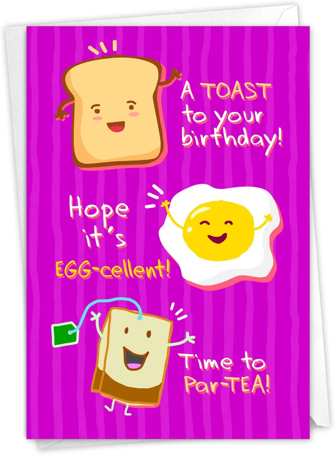 NobleWorks - Fun Kids Birthday Card with Envelope - Pun Humor, Bday Cartoon Notecard - Mixed Puns C3637BDG