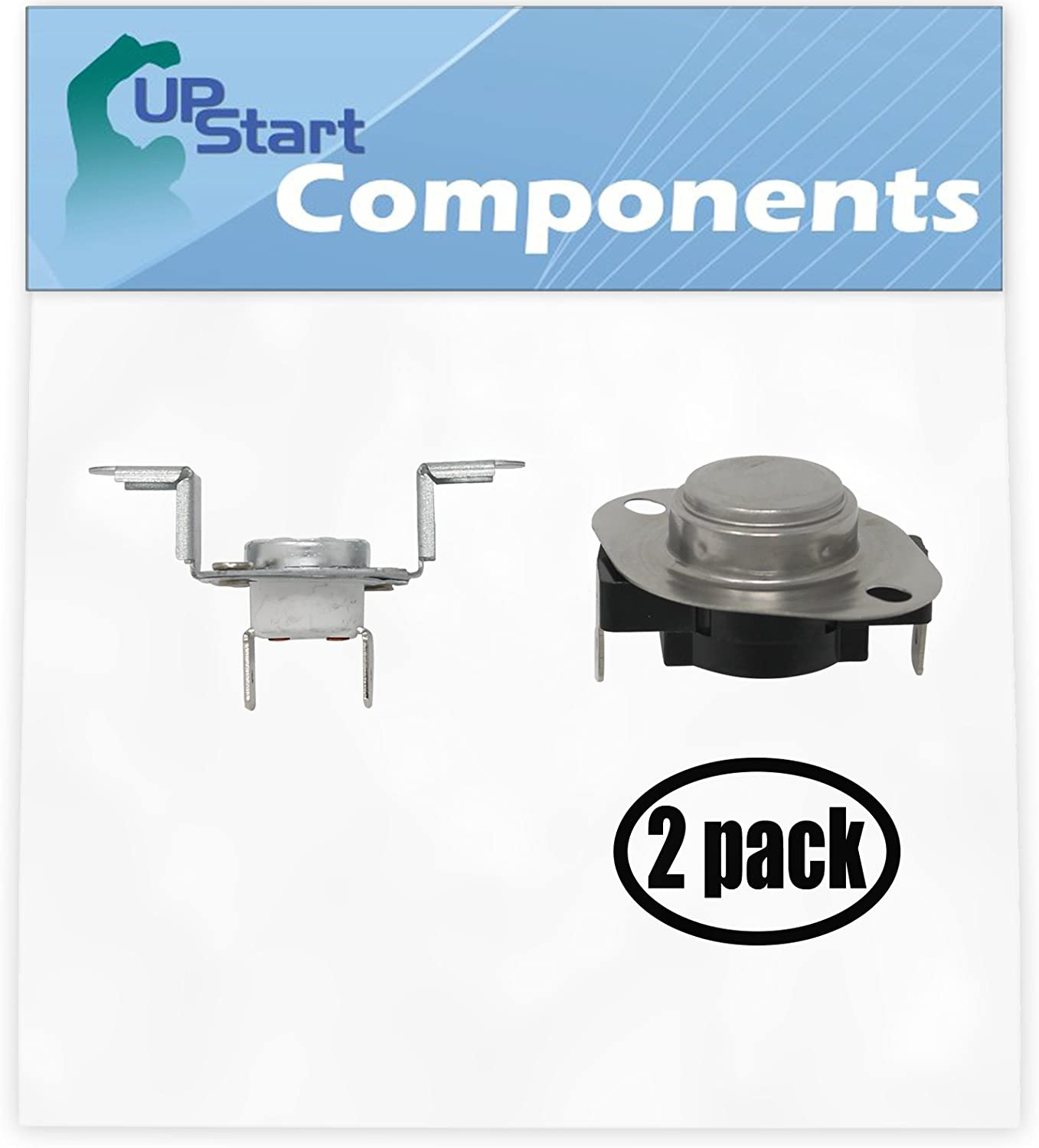 """2 Pack Replacement 279973 Thermostat and Thermal Cut-Off Kit for Whirlpool WED9750WW0 27"""" Residential Electric Dryer"""