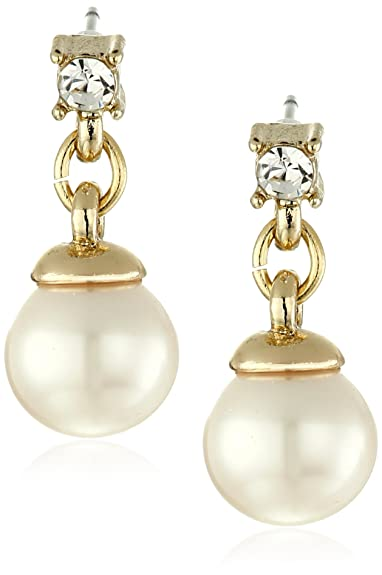 f8f92669c2a9b Anne Klein Gold Tone Pearl and Crystal Linear Drop Earrings