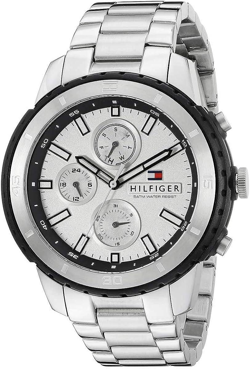 Tommy Hilfiger Hombre Reloj analógico Cuarzo Acero Inoxidable Plata th1791191