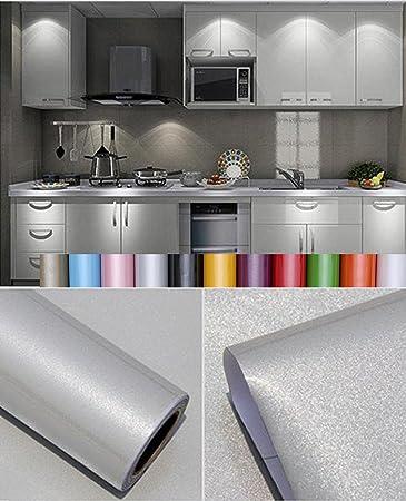 Liveinu - Papel pintado autoadhesivo de color liso para armario de cocina de PVC, impermeable, para pared, para decoración de dormitorio, salón o muebles, gris, ISA-GXSM-1182-10-2: Amazon.es: Bricolaje y herramientas