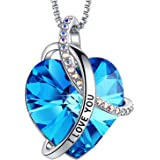 EleShow I Love You with All My Heart Pendant Necklaces Jewelry for Women, Made with Swarovski Crystal