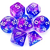 Haxtec 7PCS DND Dice Set Polyhedral D&D Dice of D20 D12 D10 D8 D6 D4 for Dungeons and Dragons TTRPG Games (Purple Blue)