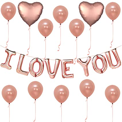 I Love You Balloons Rose Gold