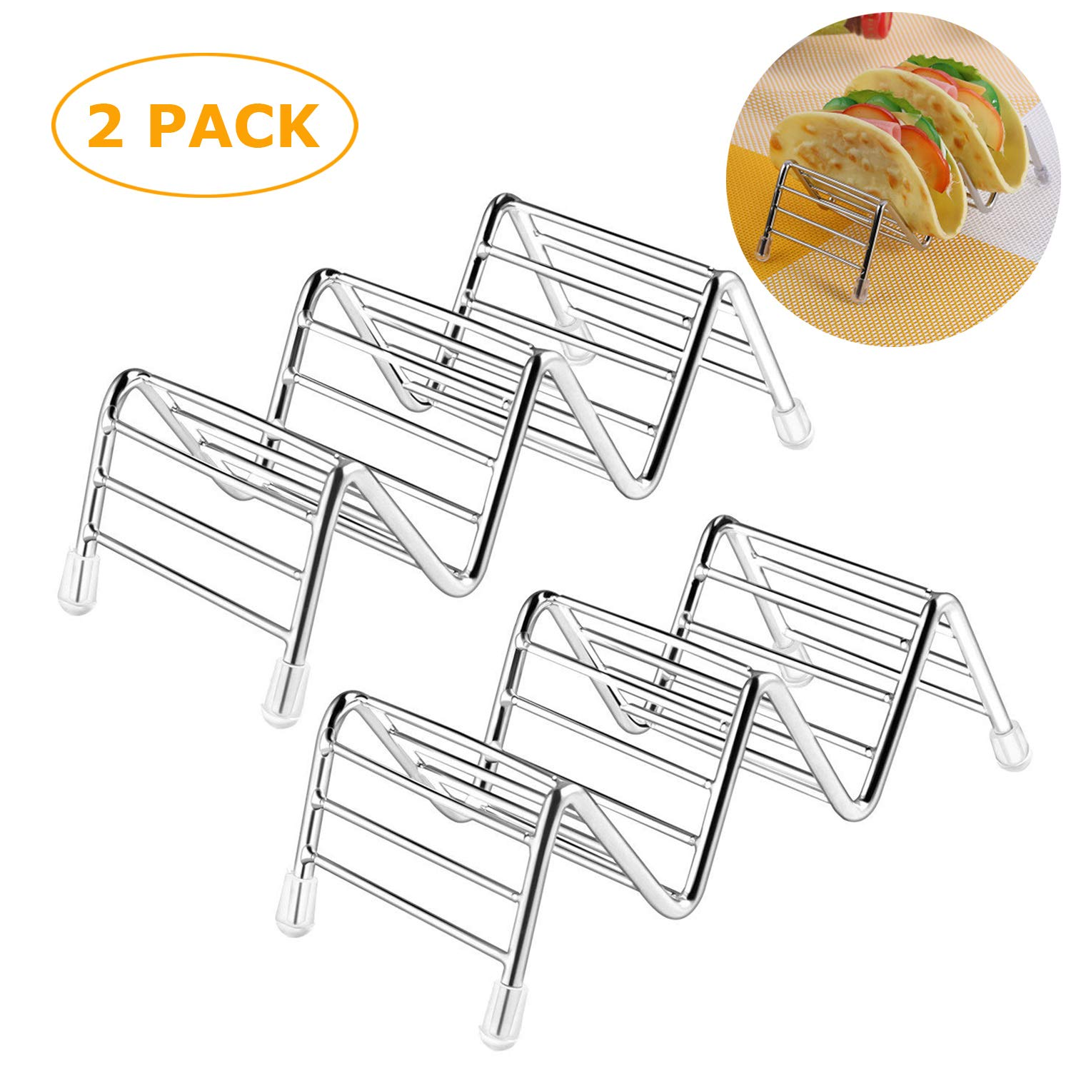 2 Pack Taco Holder, Taco Stand Stainless Steel Rustproof Taco Rack Hold 2 or 3 Hard or Soft Taco Shells Taco Truck Tray Style Oven Safe for Baking