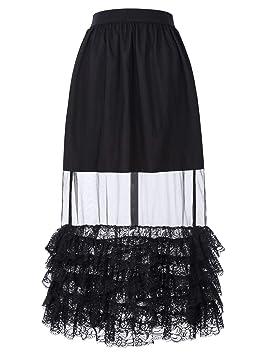 NVDKHXG Falda Negra BP Falda de Verano Retro Vintage Desgaste de ...