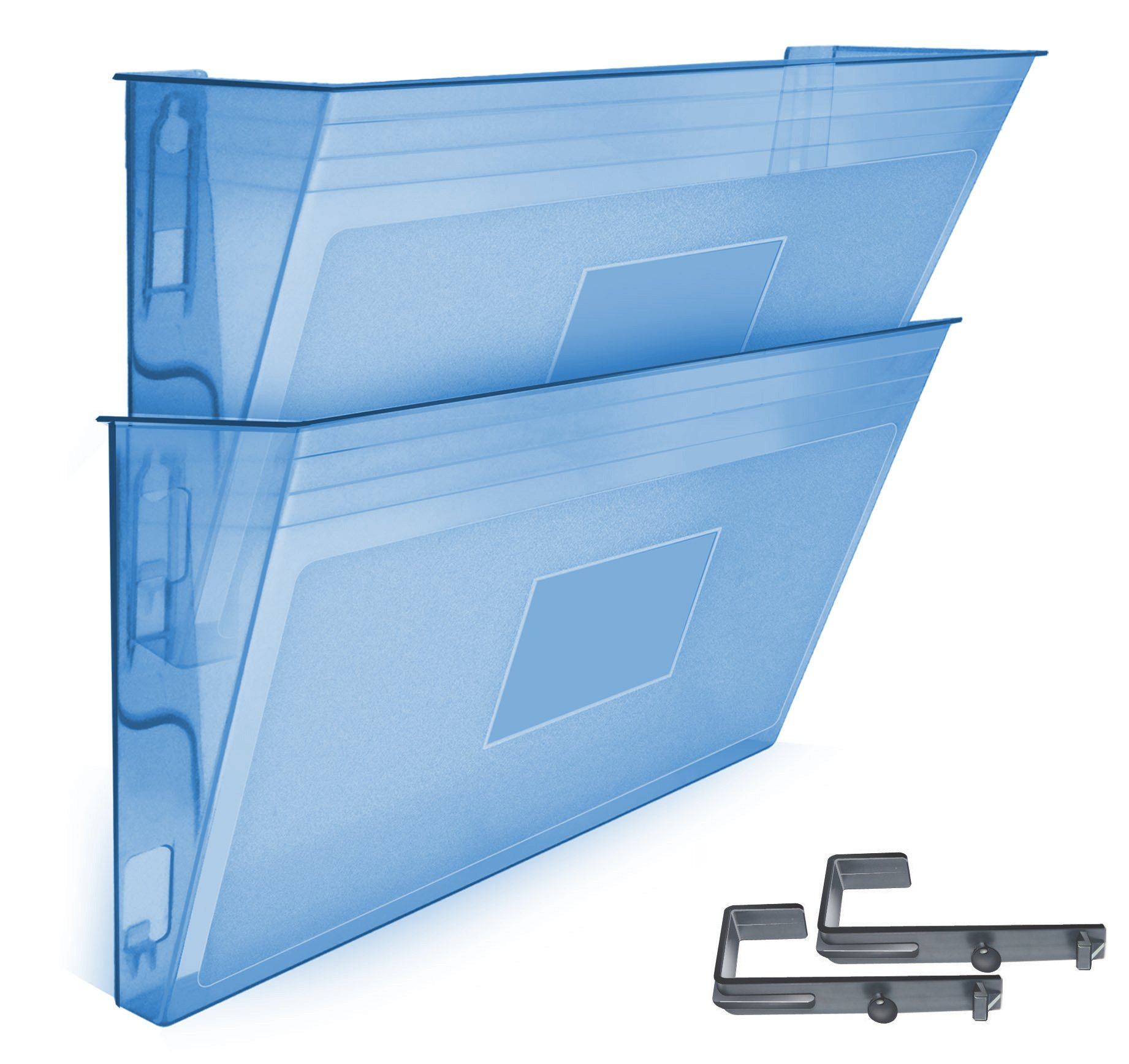 Acrimet Wall-mounted Modular File Holder (2 - Pack) (Clear Blue Color)