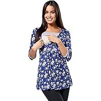 Happy Mama. Para Mujer Camiseta Premamá y De Lactancia Cuello Doble Capa. 950p