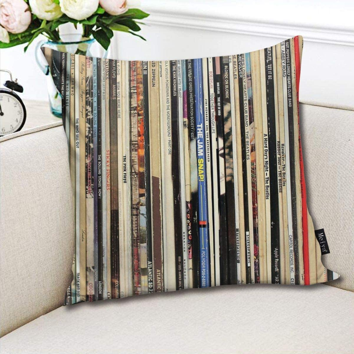 BLUETOP Classic Rock Vinyl Records Pillow Cover 18 x 18 Inch Winter Holiday Farmhouse cotton Cushion Case Decoration for Sofa Couch
