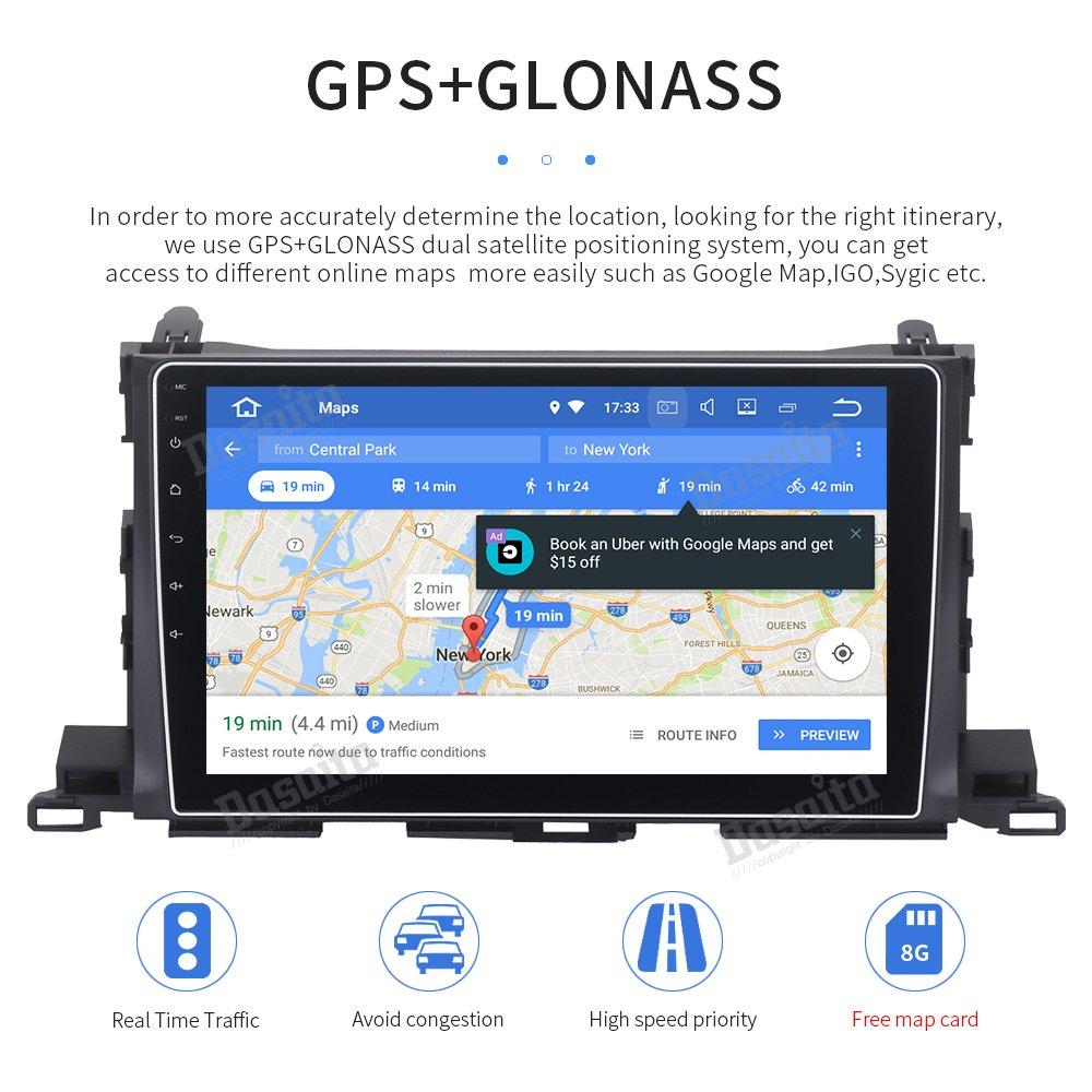 Toyota Highlander 2015 2016 2017 Dasaita Android 8.0 Car Stereo for Toyota Highlander 2015 2016 2017 2018 Radio with 10.2 Screen /& GPS Navigation /& 4GB Ram 32GB ROM Head Unit