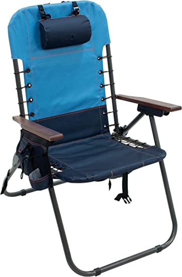 Rio Brands Beach Hi-Boy 17 Seat Height 4-Position Lace-Up Suspension Folding Backpack Beach Chair with Removable Backpack Blue Fish Print
