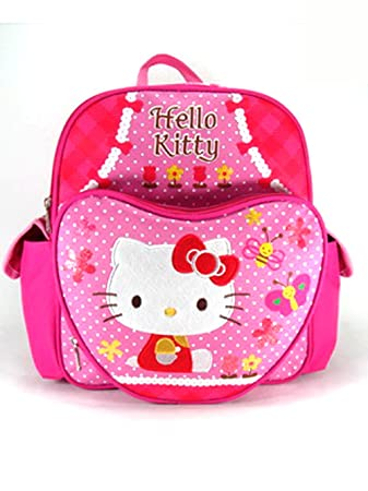 480bd844d1 Small Size Pink Butterflies and Bees Hello Kitty Backpack - Hello Kitty  Bookbag  Amazon.in  Bags