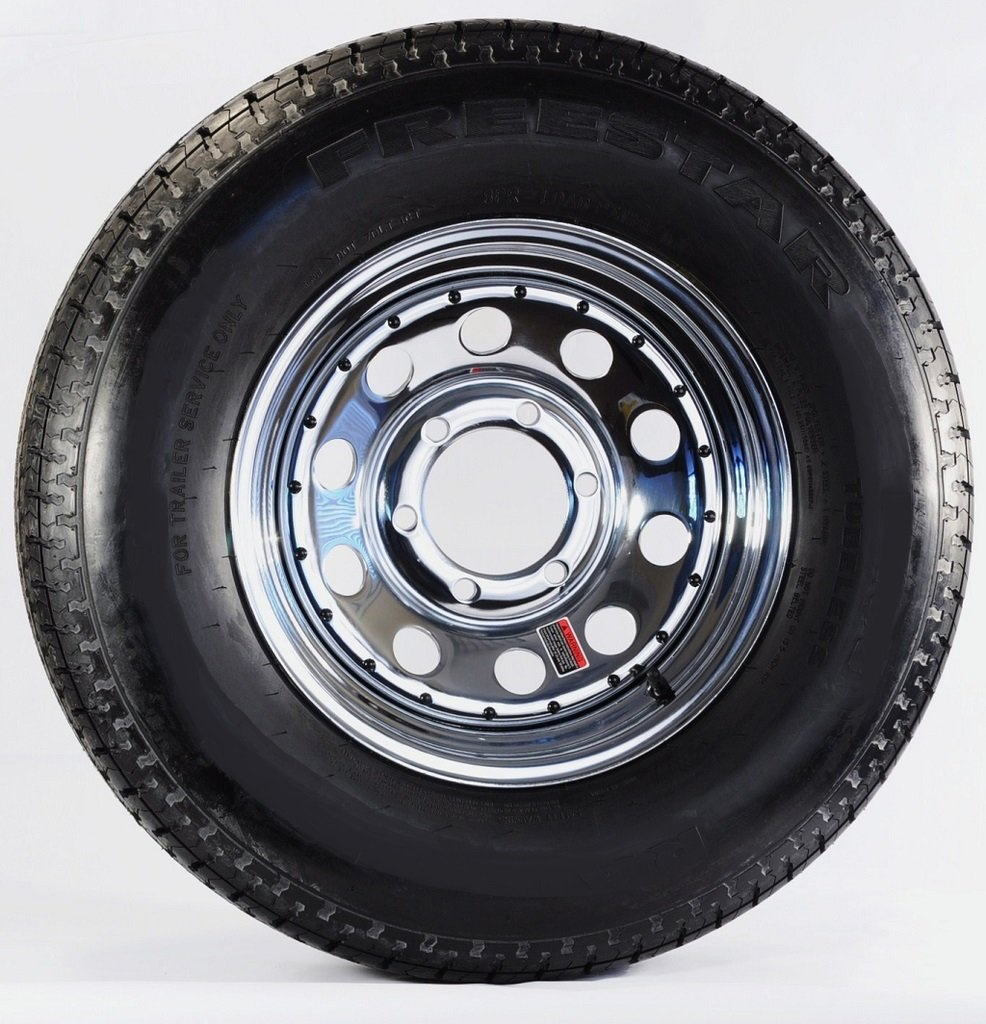Trailer Wheel & Tire 380 ST225/75R15 225/75 R 15'' LRD 6 Bolt Hole Modular Chrome