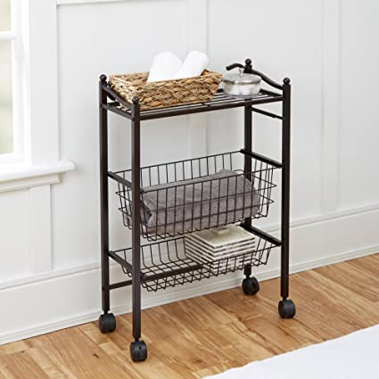 Chapter Bathroom Storage Cart with Top Shelf and 2 Storage Baskets & Amazon.com: Chapter Bathroom Storage Cart with Top Shelf and 2 ...
