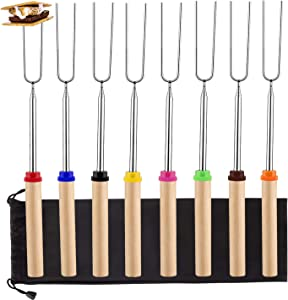 Marshmallow Roasting Sticks 8 Pack Extendable 32 Inch Telescoping Marshmallow Skewers & Hot Dog Forks with Wooden Handle Storage Bag for Campfire BBQ Backyard Fire Pit