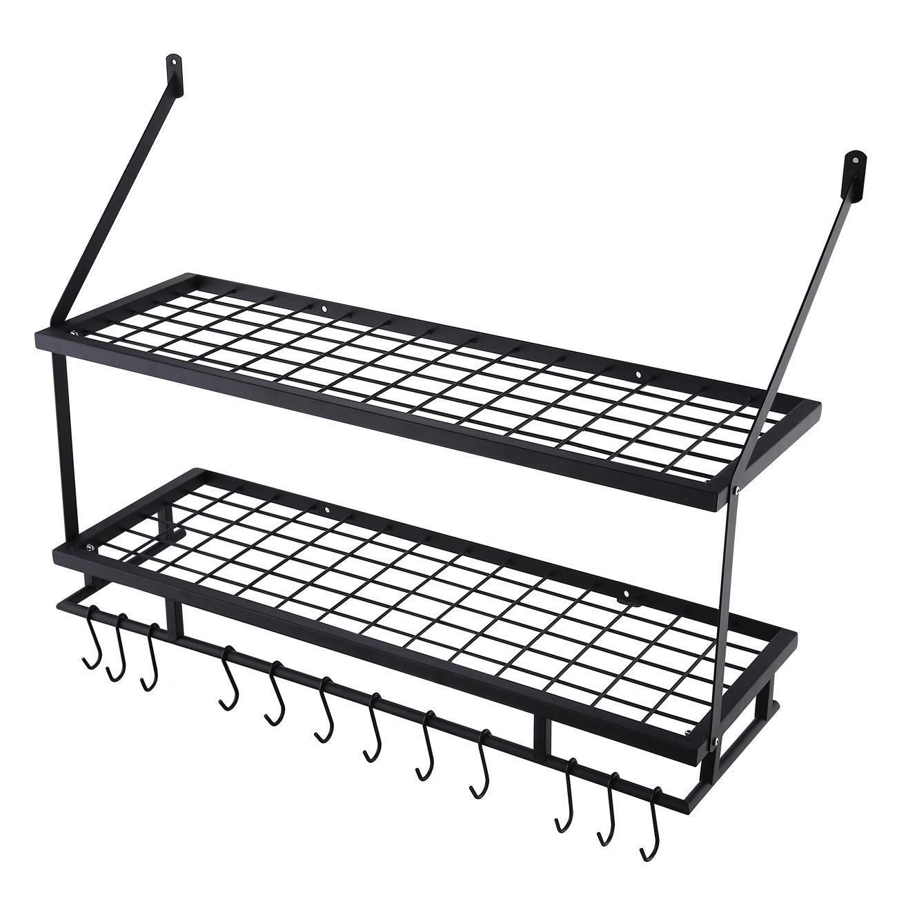 KES 24-Inch Kitchen Wall Mount Pot Pan Rack Wall Shelf With 10 Hooks Matte Black KUR215S60-BK