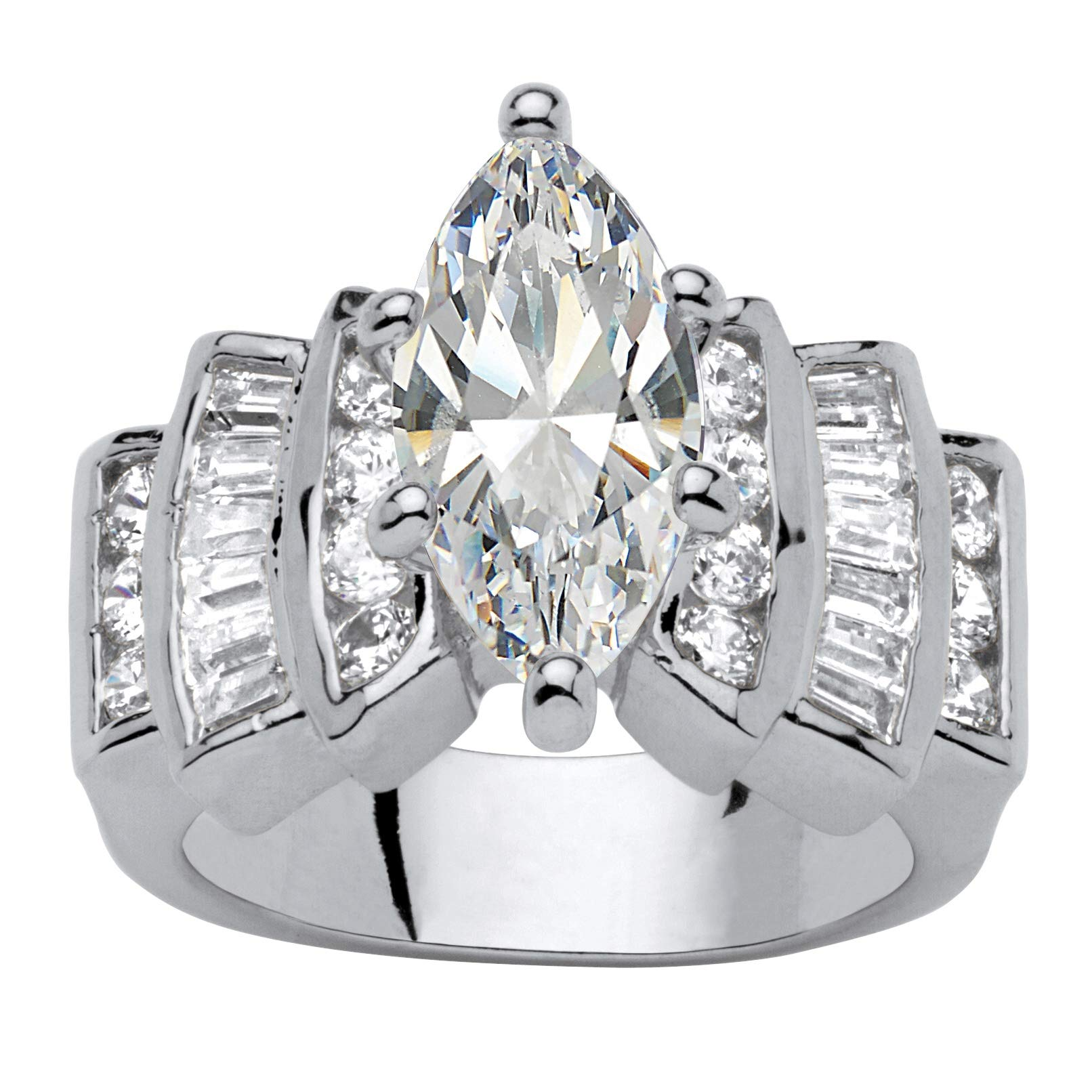 Palm Beach Jewelry Silver Tone Marquise Cut Cubic Zirconia Step Top Engagement Ring Size 7
