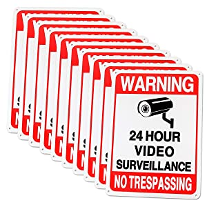 Video Surveillance Sign, Abuff No Trespassing Metal Reflective Warning Sign, Security Camera Sign Outdoor Use for Home Yard Business Driveway Alert CCTV