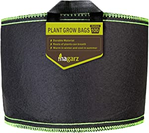 Magarz 1-Pack 100 Gallon Fabric Flower Pots Garden Felt Grow Bags with Handle (Black)