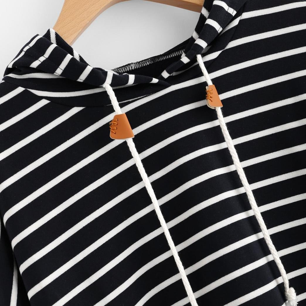 Women Stylish Striped Hoodies Sweatshirt Long Sleeve Loose Fit Pullover Tops Clearance