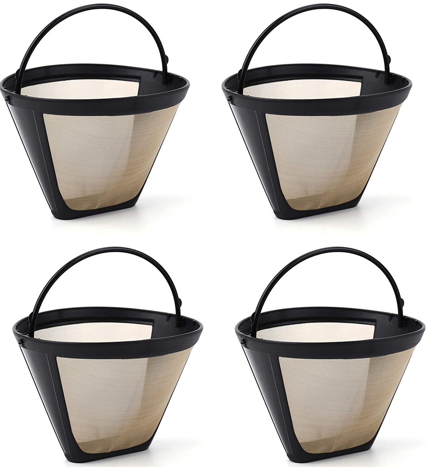 Lawei 4 pack Reusable Coffee Filter - #4 Cone Style Permanent Coffee Filter fits Most Cuisinart, Krups and other