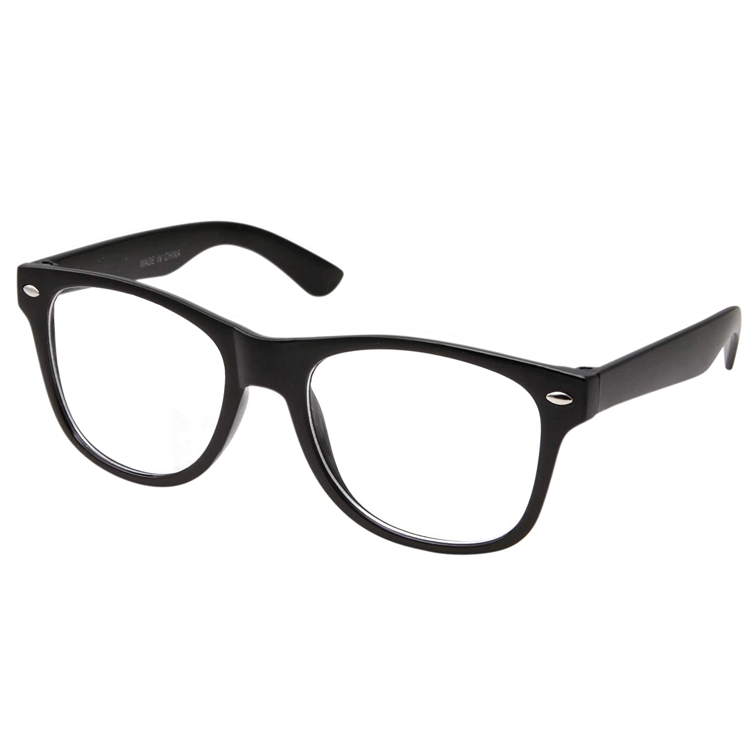 295fbd29890 Amazon.com  Retro NERD Geek Oversized BLACK Framed Clear Lens Eye Glasses  for Men Women  Clothing